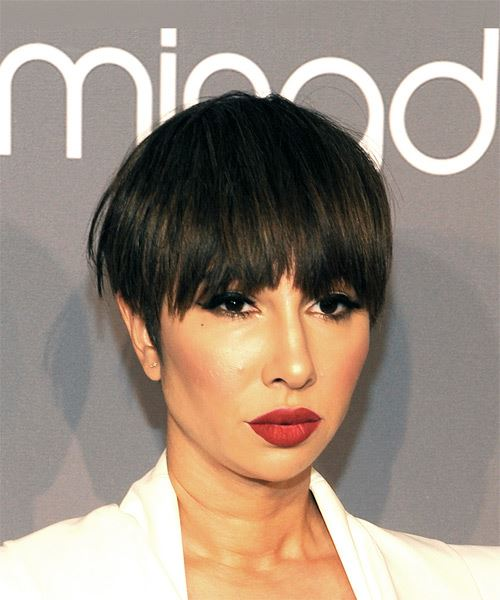 Jackie Cruz Short Straight Casual  Pixie  Hairstyle with Layered Bangs  - Medium Brunette Hair Color - Side on View