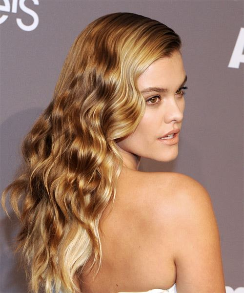 Nina Agdal Long Wavy Casual   Hairstyle   - Medium Blonde - Side on View