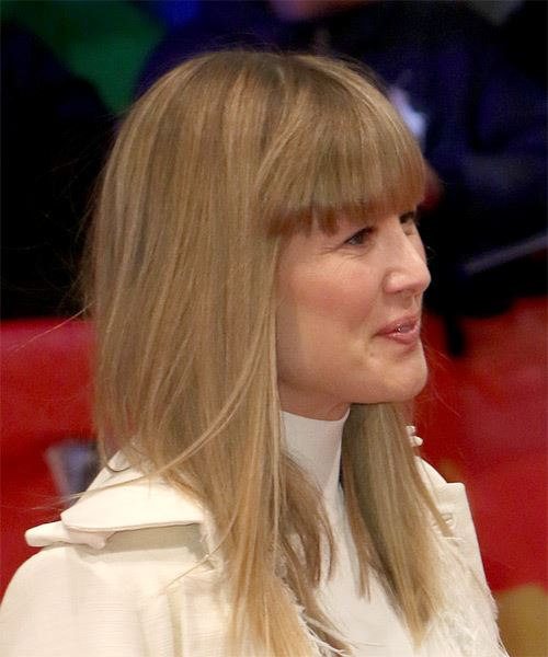 Rosamund Pike Medium Straight Casual Bob  Hairstyle with Blunt Cut Bangs  - Dark Blonde - Side on View
