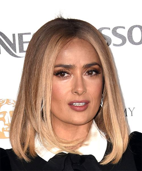 Salma Hayek Medium Straight    Blonde Bob  Haircut   - Side on View