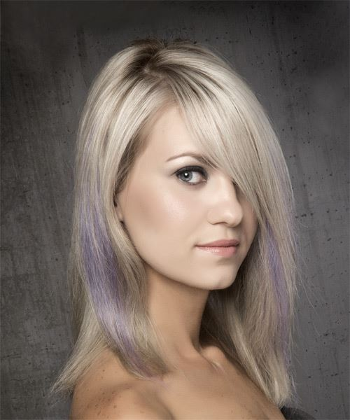 Medium Straight Alternative Bob Hairstyle with Side Swept Bangs - Light Blonde - Side on View