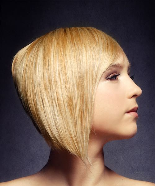 Short Straight   Light Golden Blonde Asymmetrical  Hairstyle with Side Swept Bangs  - Side on View