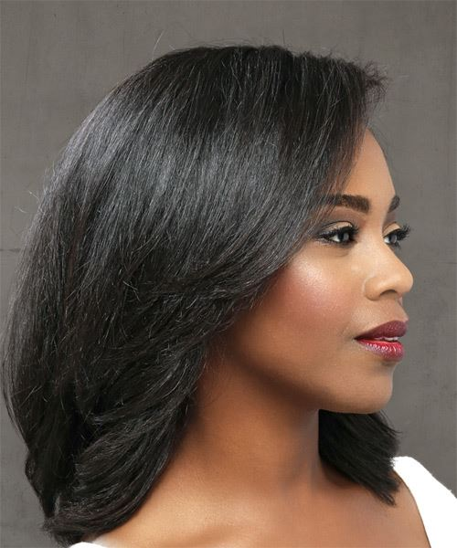 Medium Straight Casual    Hairstyle   - Black  Hair Color - Side on View
