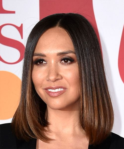 Myleene Klass Medium Straight Formal Bob  Hairstyle   - Medium Brunette - Side on View