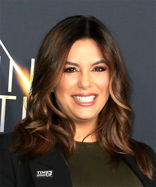 Eva Longoria Medium Wavy Casual   Hairstyle   - Medium Brunette - Side on View