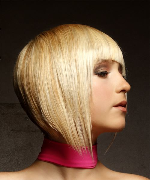 Short Straight Alternative Asymmetrical  Hairstyle with Asymmetrical Bangs  - Light Blonde - Side on View