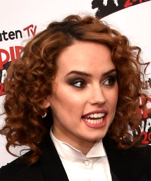 Daisy Ridley Medium Curly Casual   Hairstyle   - Medium Red - Side on View