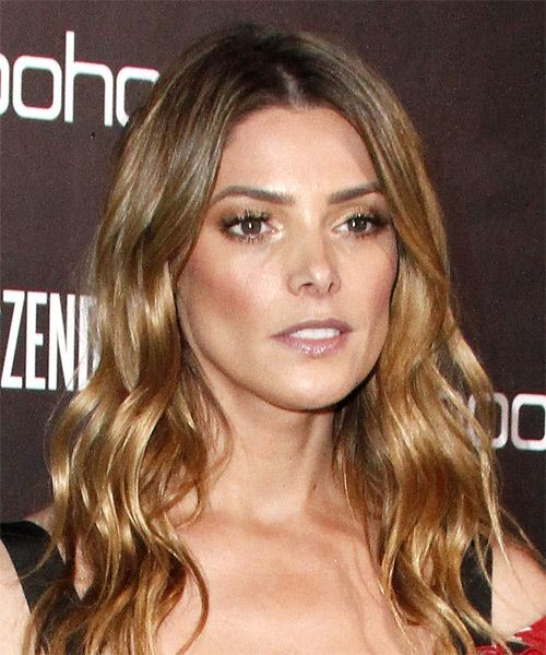 Ashley Greene Long Wavy Casual   Hairstyle   - Light Brunette - Side on View