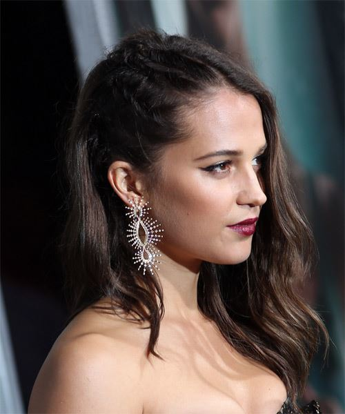 Alicia Vikander Long Wavy Casual   Hairstyle   - Medium Brunette - Side on View