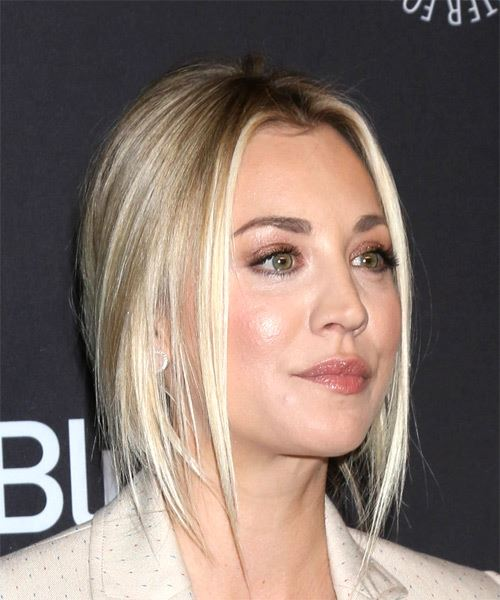 Kaley Cuoco Long Straight Casual  Half Up Hairstyle   - Light Blonde - Side on View