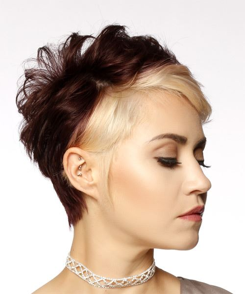 Light Blonde and Dark Brunette Two-Tone Pixie  Cut with Side Swept Bangs  - Side on View