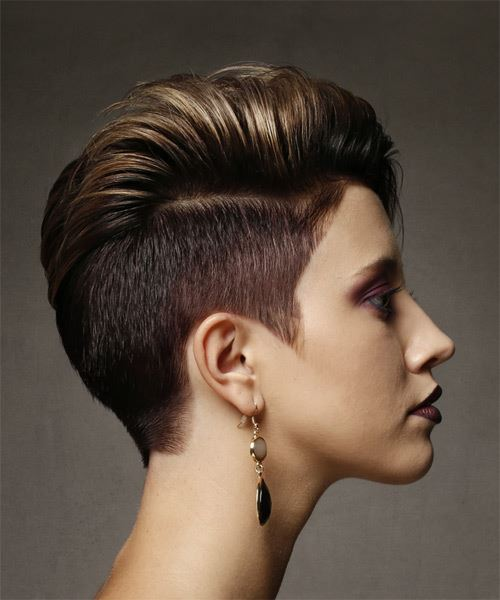 Short Straight Alternative Asymmetrical  Hairstyle   - Medium Brunette - Side on View