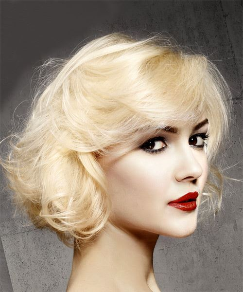 Short Wavy Casual  Bob  Hairstyle with Side Swept Bangs  - Light Blonde Hair Color - Side on View