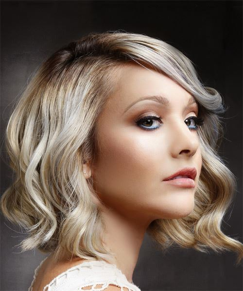 Medium Wavy Casual    Hairstyle with Side Swept Bangs  - Light Blonde Hair Color - Side on View
