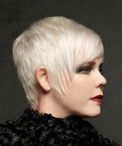 Short Straight Casual  Pixie  Hairstyle with Layered Bangs  - Light Blonde Hair Color - Side on View