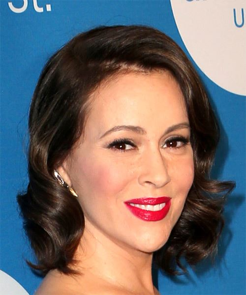 Alyssa Milano Medium Wavy Casual   Hairstyle with Side Swept Bangs  - Dark Brunette - Side on View