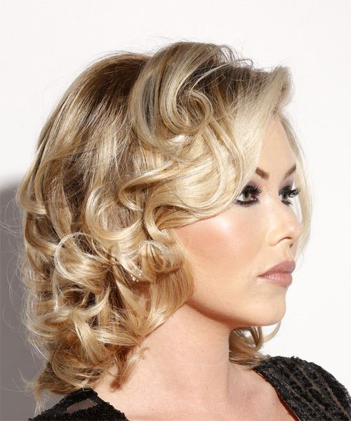 Medium Wavy Formal    Hairstyle with Side Swept Bangs  - Light Blonde Hair Color - Side on View