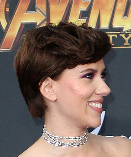 Scarlett Johansson      Brunette Pixie  Cut with Side Swept Bangs  - Side on View
