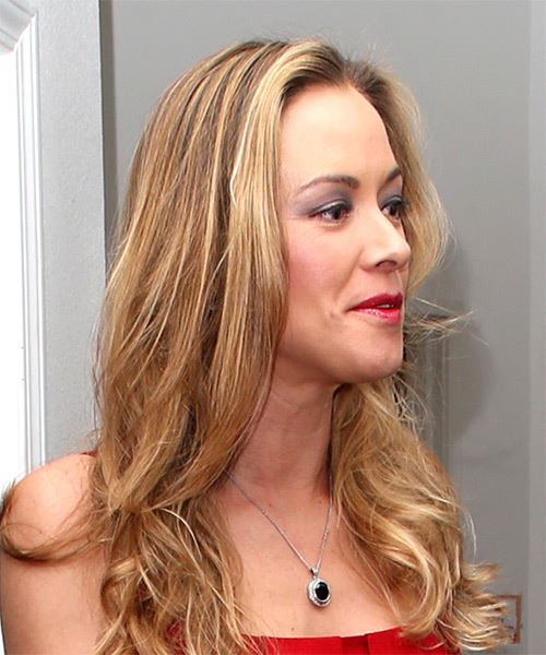 Kristanna Loken Long Wavy Casual    Hairstyle   - Dark Blonde Hair Color - Side on View