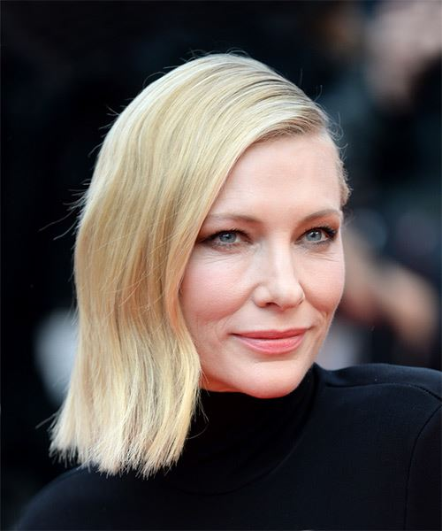 Cate Blanchett Medium Straight Casual  Bob  Hairstyle   - Light Blonde Hair Color - Side on View