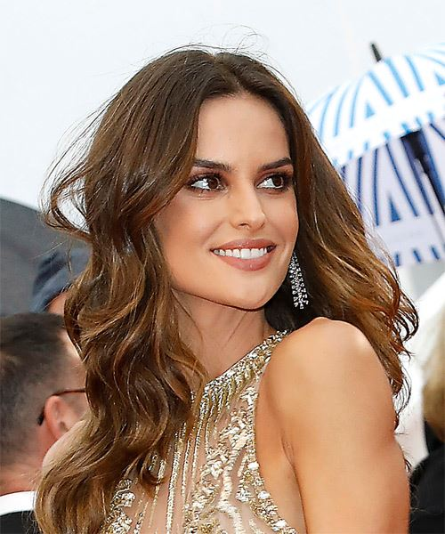 Izabel Goulart Long Wavy Formal    Hairstyle   -  Brunette Hair Color - Side on View