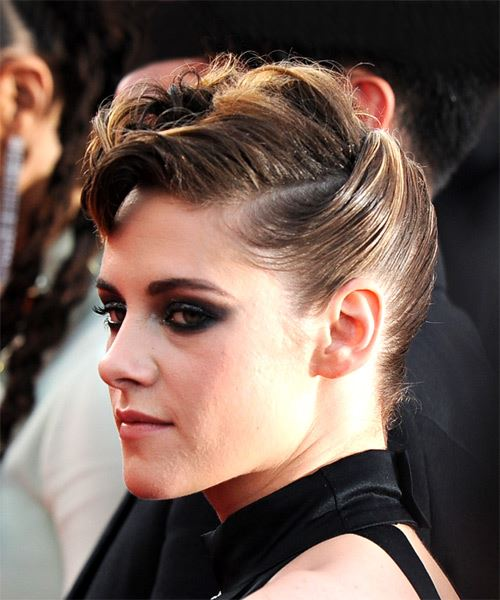Kristen Stewart Short Wavy Casual  Mohawk  Hairstyle   -  Brunette Hair Color - Side on View