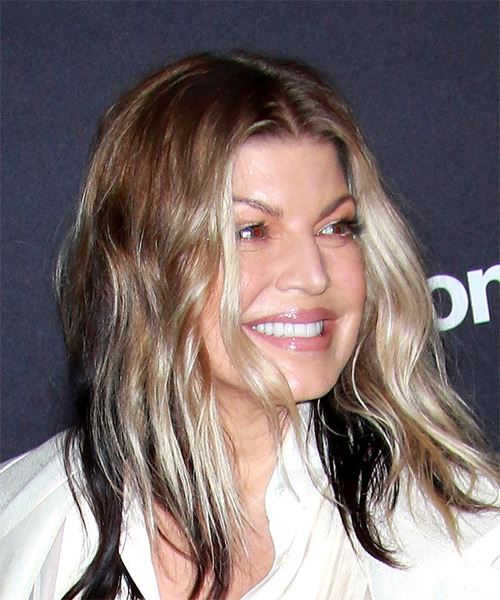 Fergie Medium Wavy Casual   Hairstyle   - Light Blonde - Side on View