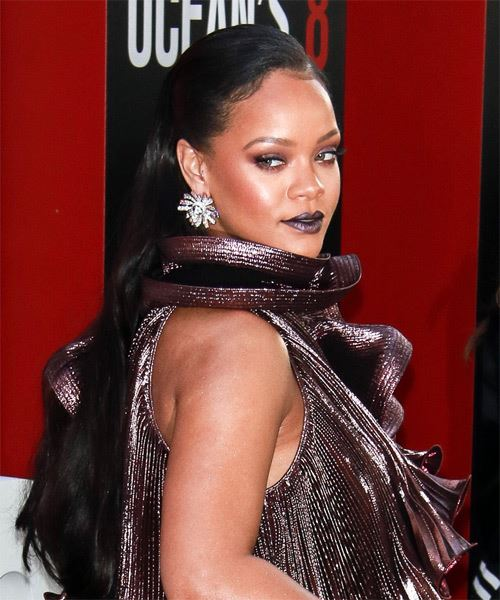 Rihanna Long Straight Formal   Updo Hairstyle   - Black  Hair Color - Side on View