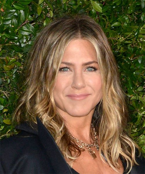 Jennifer Aniston Long Wavy Casual    Hairstyle   - Medium Blonde Hair Color - Side on View