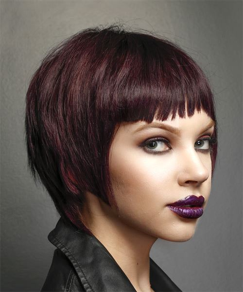 Short Straight   Purple    Hairstyle with Asymmetrical Bangs  - Side on View