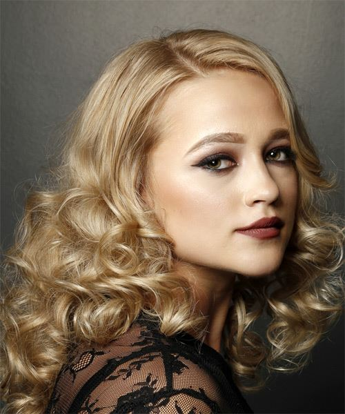 Medium Curly   Light Blonde   Hairstyle   - Side on View