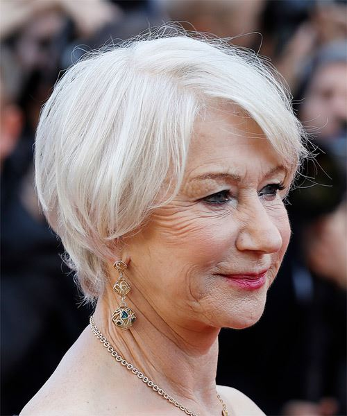 Helen Mirren Short Straight   Light Grey Bob  Haircut with Side Swept Bangs  - Side on View
