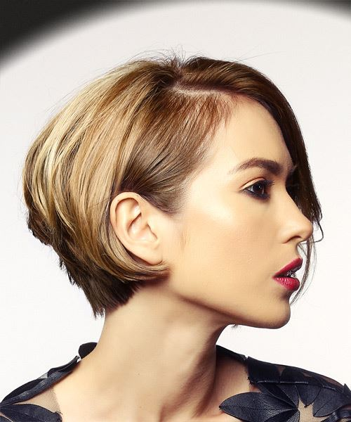 Short Wavy Casual  Bob  Hairstyle   -  Brunette and Light Blonde Two-Tone Hair Color - Side on View