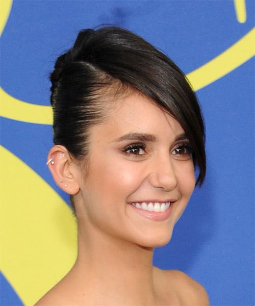 Nina Dobrev Long Straight   Dark Brunette  Updo  with Side Swept Bangs  - Side on View