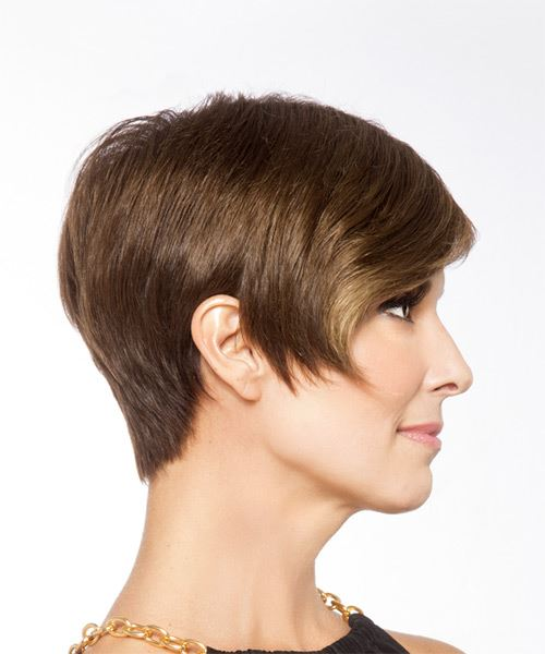Short Straight   Light Brunette   Hairstyle   - Side on View