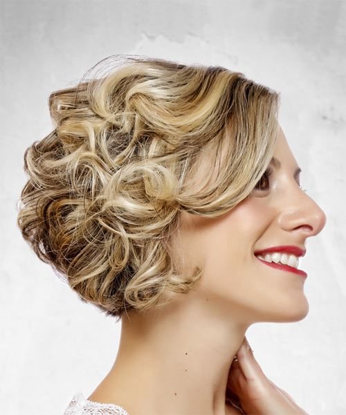 Medium Wavy Formal  Bob  Hairstyle with Side Swept Bangs  - Light Blonde Hair Color - Side on View