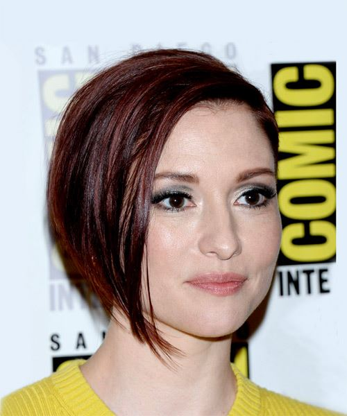 Chyler Leigh Short Straight Casual Layered Bob  Hairstyle   - Dark Brunette Hair Color - Side on View