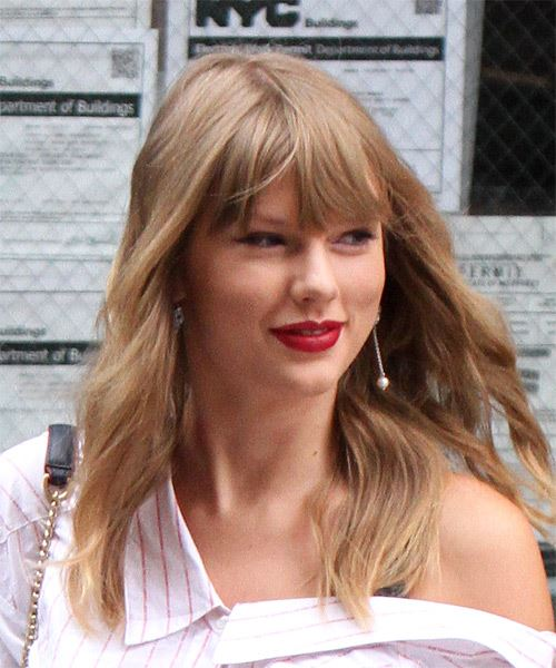 Taylor Swift Long Wavy    Blonde   Hairstyle with Blunt Cut Bangs  - Side on View