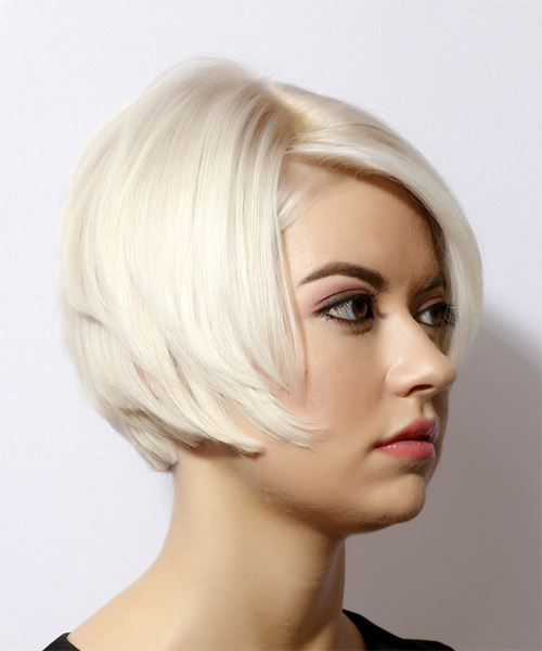 Short Straight   Light Blonde Bob  Haircut with Side Swept Bangs  - Side on View