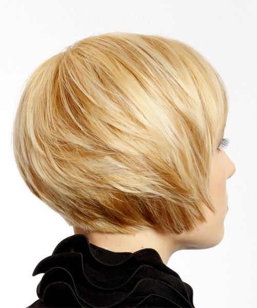 Short Straight   Light Blonde   Hairstyle with Side Swept Bangs  - Side on View