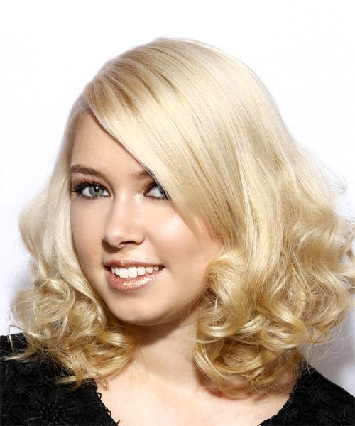 Medium Curly Formal  Bob  Hairstyle with Side Swept Bangs  - Light Blonde Hair Color - Side on View