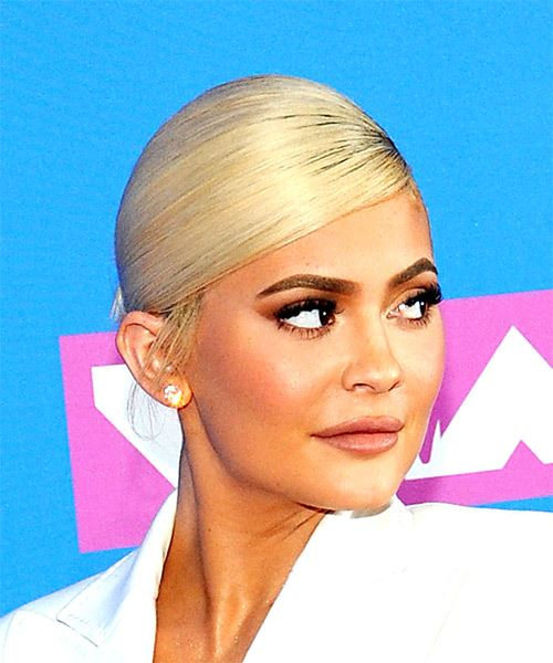 Kylie Jenner Long Straight Casual   Updo Hairstyle with Side Swept Bangs  - Light Blonde Hair Color - Side on View