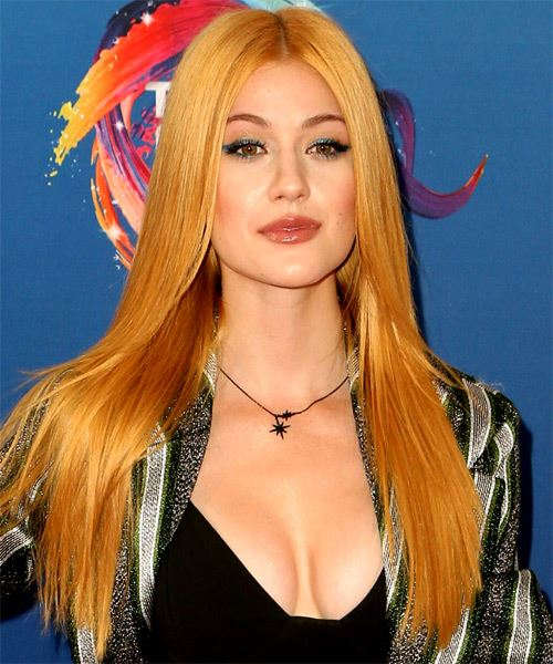 Katherine McNamara Long Straight   Ginger   Hairstyle with Layered Bangs  - Side on View