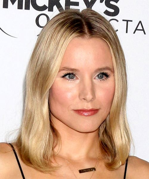 Kristen Bell Medium Straight   Light Blonde   Hairstyle   - Side on View