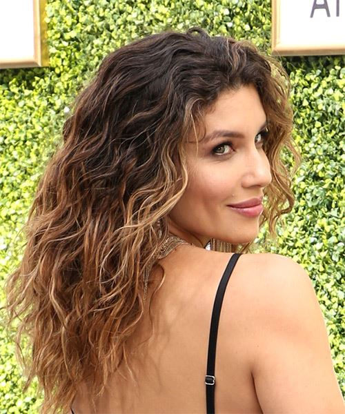 Juliana Harkavy Long Wavy   Dark Brunette Bob  Haircut with Side Swept Bangs  and  Blonde Highlights - Side on View