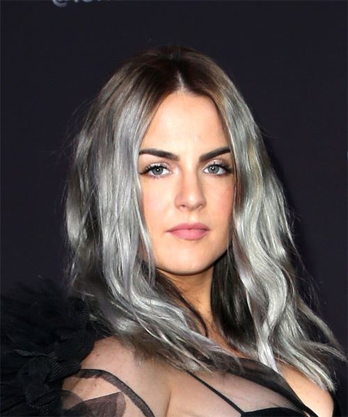 Jojo Levesque Long Wavy Casual    Hairstyle with Layered Bangs  and  Grey Two-Tone - Side on View