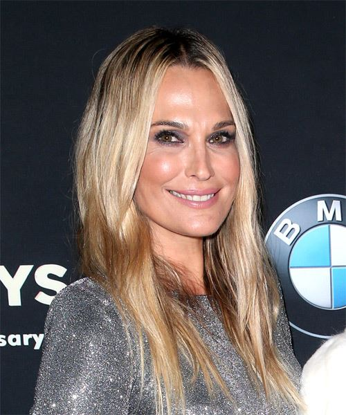 Molly Sims Long Straight Casual    Hairstyle with Layered Bangs  - Dark Blonde Hair Color - Side on View