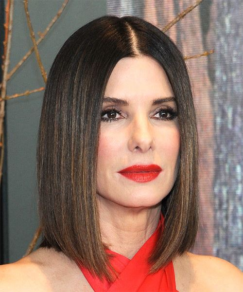 Sandra Bullock Medium Straight Formal  Bob  Hairstyle   - Black  Hair Color - Side on View
