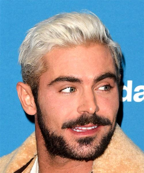 Zac Efron Short Straight Casual    Hairstyle   - Light Platinum Blonde Hair Color - Side on View