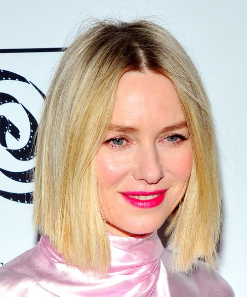 Naomi Watts Medium Straight    Golden Blonde Bob  Haircut   - Side on View